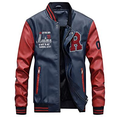 AFS Jeep Embroidery Baseball Jackets Men Plus Size 4XL Fleece Pilot Leather Jacket Hombre,Blue