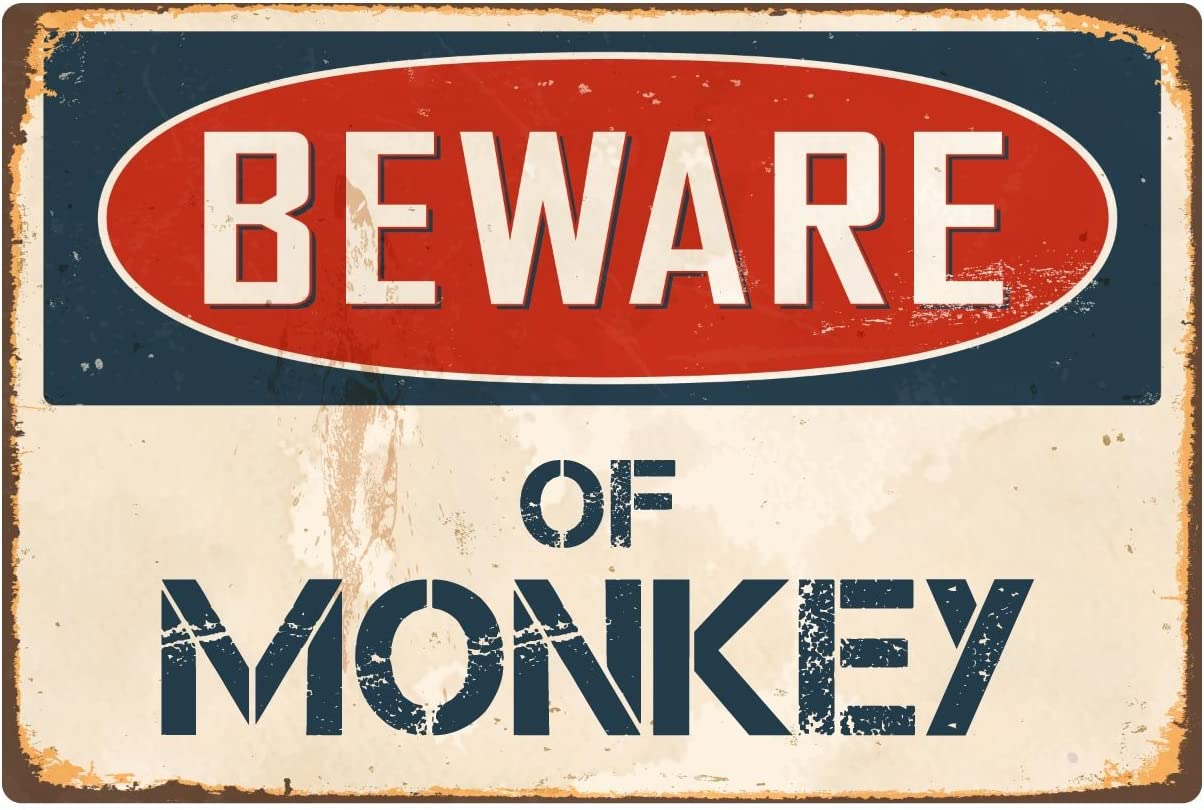 "StickerPirate Beware of Monkey 8"" x 12"" Vintage Aluminum Retro Metal Sign VS287"