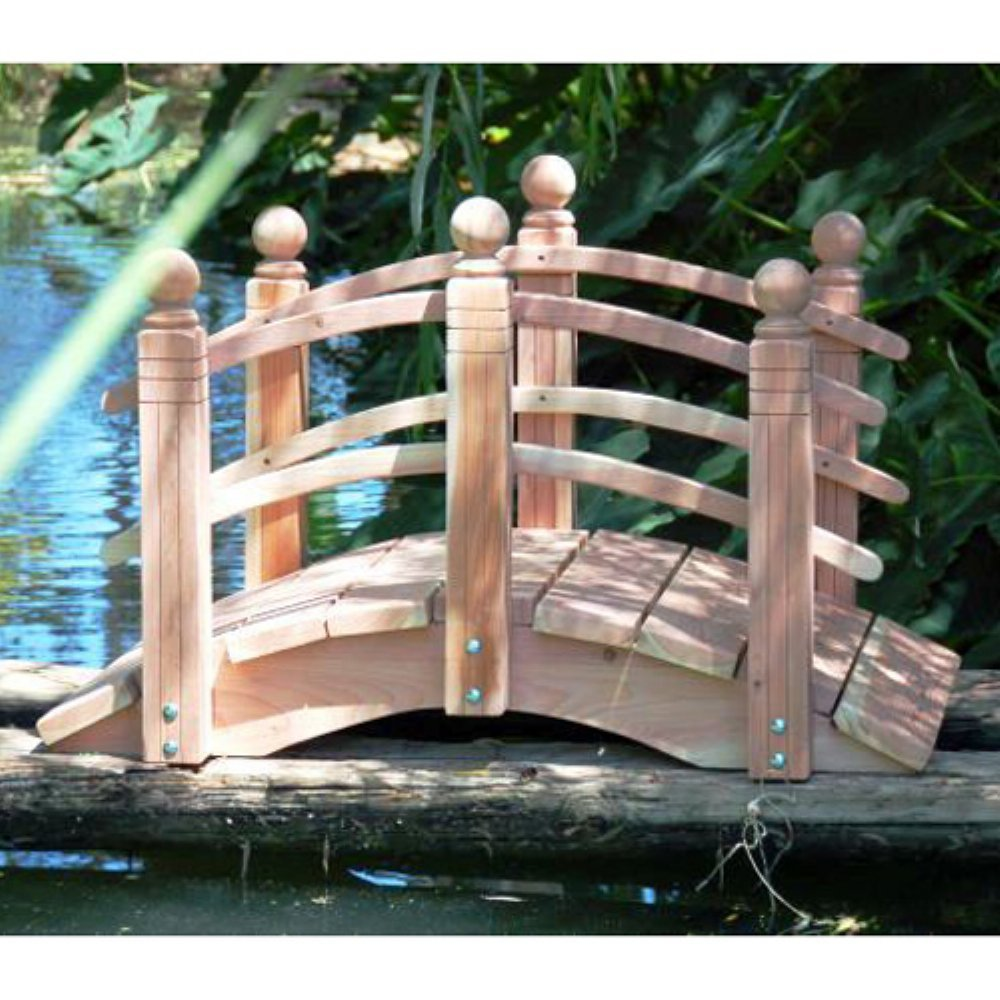 4 ft. Curved Double Rail Span Bridge (Curved Double Rail Sealed w Lights) by Redwood Garden Bridges