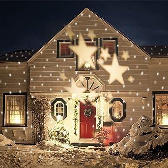 Led Weihnachtsbeleuchtung Strahler.Smithroad Ip67 Led Projektionslampe Sterne Muster Strahler Für Weihnachten Innen Und Außen Garten Beleuchtung Warmweiß