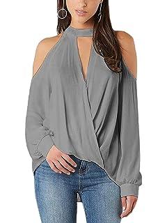 YOINS Damen Langarmshirt Schulterfrei Oberteil Pullover für Damen  V-Ausschnitt Carmen Shirt Langarm Bluse Tops 57576610db
