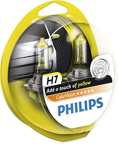 Philips ColorVision Bombilla para faros delanteros amarilla 12972CVPYS2 - bombilla para coches (55W, H4