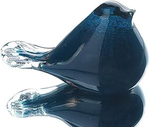 Hophen Art Glass Bird Figurine Handmade Blown Glass Paper Wight Mother`s Day Gift Home Ornament (Ink-Blue)