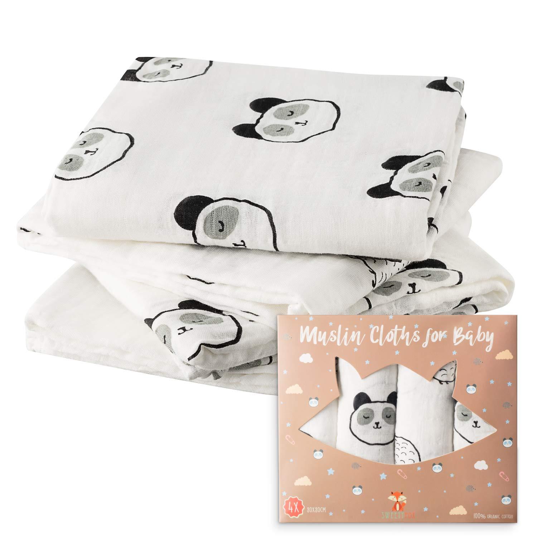 4-er Mullt/ücher Baumwolle Baby Musselin 80x80 cm 100/% Bio-Baumwolle F/ür M/ädchen und Jungen Bio-Mullwindeln Optimal als Pucktuch Decke Spucktuch und L/ätzchen Stoffwindel Wickelunterlage