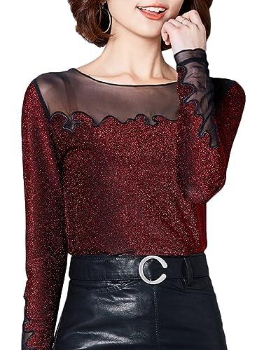 Azbro Mujer Blusa Cuello Redondo con Mangas Largas Empalme de Hilo Decoración de Lentejuelas