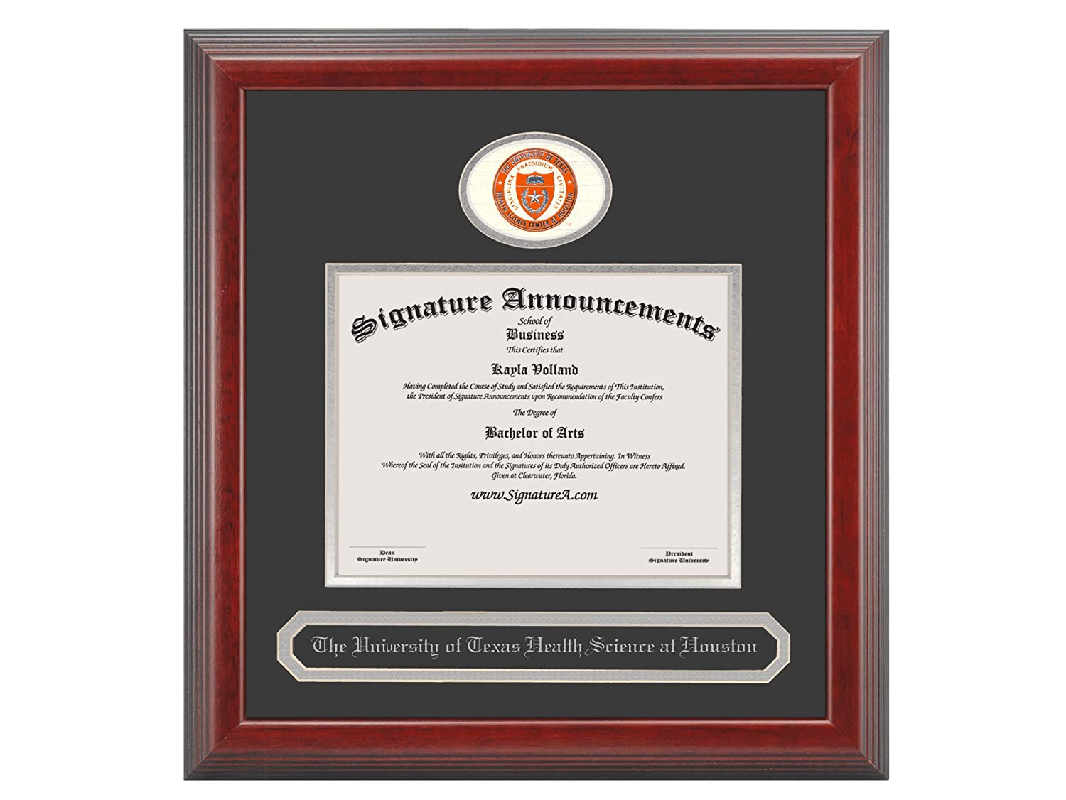 20 x 20 Cherry Signature Announcements University-of-Texas-Health-Science-Center-at-Houston Undergraduate Sculpted Foil Seal /& Name Graduation Diploma Frame
