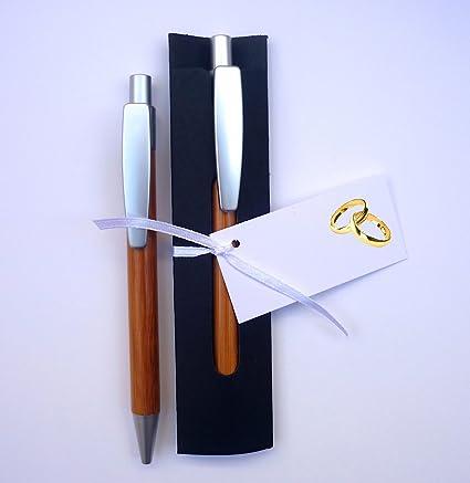 Detalles y Recuerdos de Boda Para Invitados - Bolígrafos de Madera de Bambú con Funda - Pack 20 Unidades - Y lo más Alucinante: ¡¡Escriben Super ...