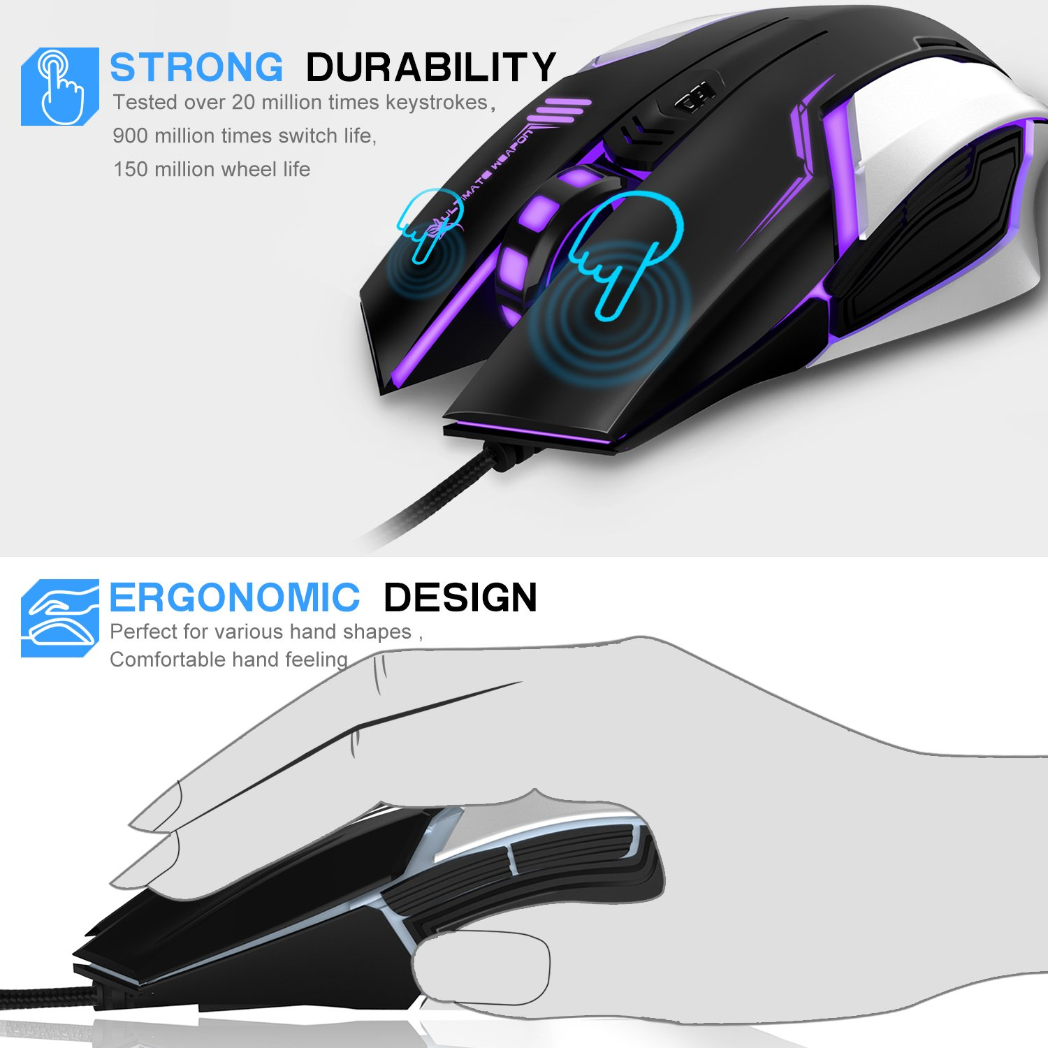 Gaming Mouse, LDesign 3200DPI Wired Gamer Mice ACC Optical Ergonomic with 4 Adjustable DPI Switch, 7-Color Breathing Light, High Accuracy Computer Mice Plug and Play (Black/Silver)