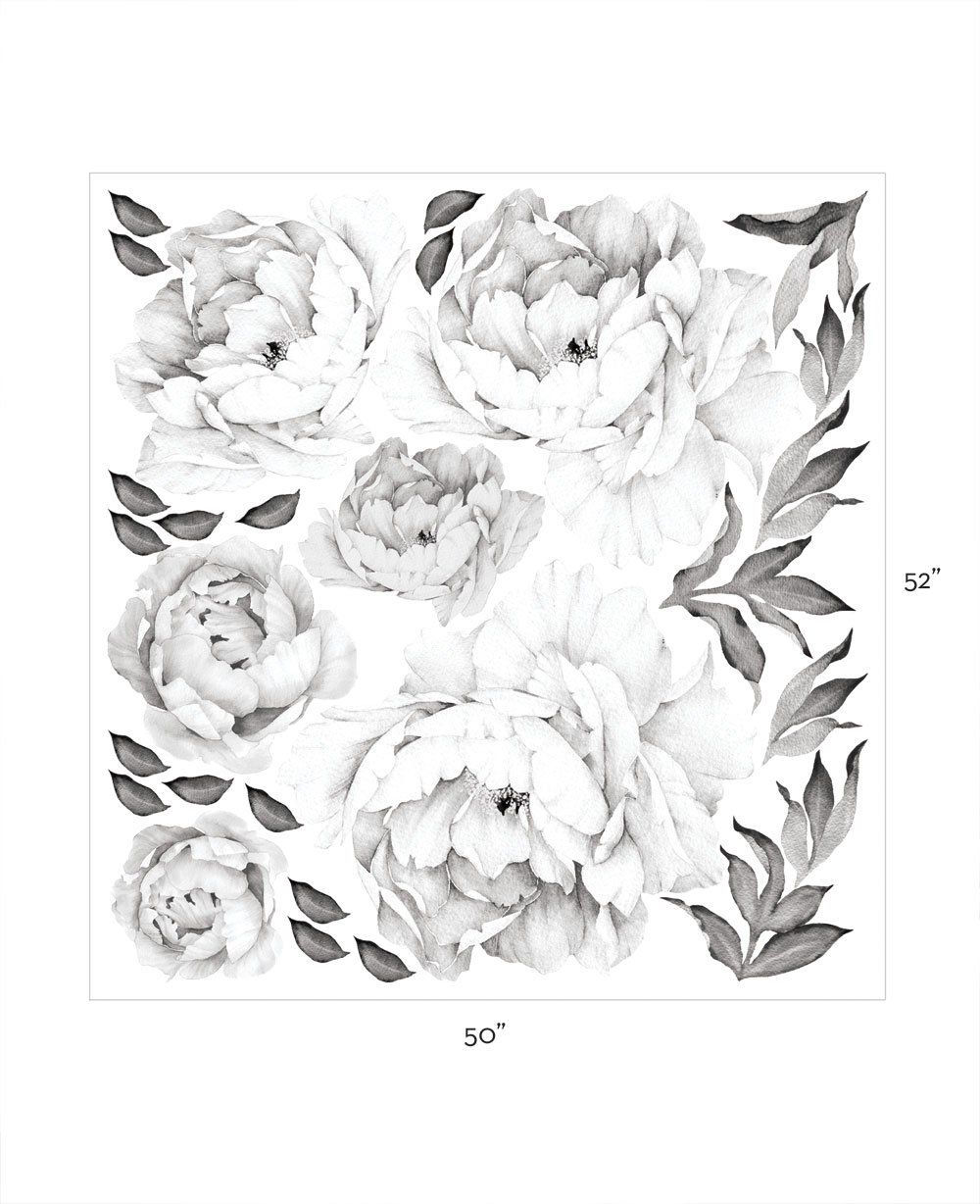 Simple Shapes Peony Flowers Wall Sticker Black White By