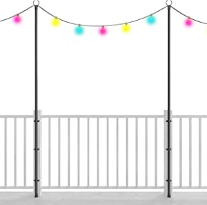 Holiday Styling: String Light Poles for Deck Fence or Patio - Hang Backyard LED or Solar Outdoor Lights w Pole + Bracket Kit Secured to Your Railing (2 x 110 inches) - Great Plant Hanger