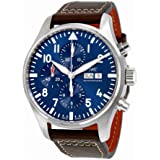 IWC MEN'S 43MM BROWN LEATHER BAND STEEL CASE AUTOMATIC ANALOG WATCH IW377714