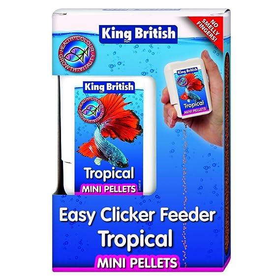 King British - Dispensador de comida Easy Clicker para peces tropicales (30g/Variado)