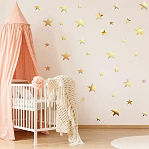 32 Pieces Removable Star Mirror Stickers Acrylic Mirror Setting Wall Sticker Decal for Home Living Room Bedroom Decor (Gold)