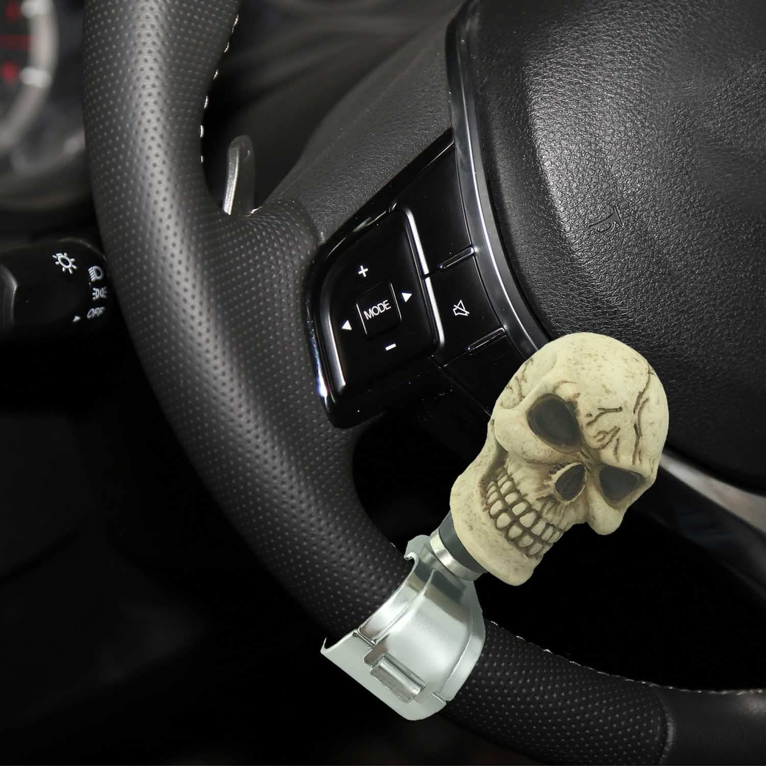 Red Pattern Bashineng Car Spinner Skull Power Handle Suicide Control Knob Fit Most Steering Wheel