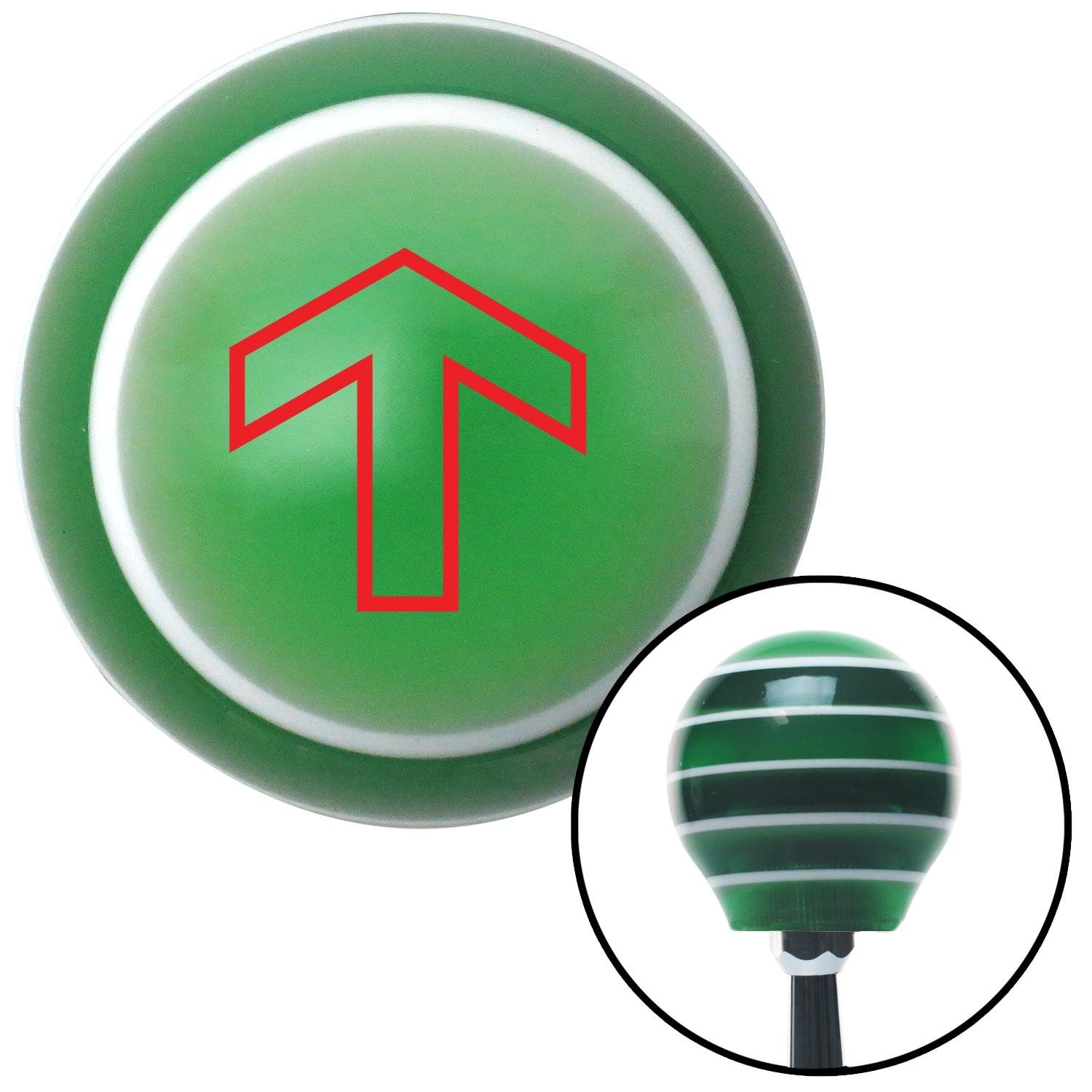 American Shifter 121230 Green Stripe Shift Knob with M16 x 1.5 Insert Red Broad Arrow Up