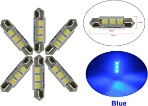 NJYTouch 6 X 43mm 44mm 3SMD 5050 211 Blue Festoon Dome Map Interior LED Light Bulbs DC 12V