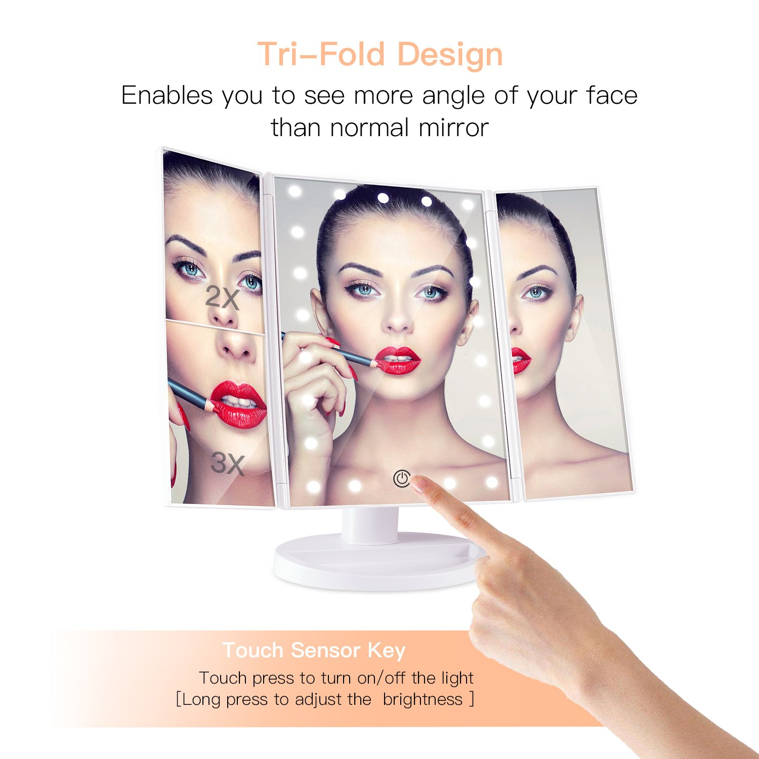 BESTOPE Makeup Vanity Mirror with 21 LED Lights 3X/2X Magnifying Touch Screen,Dual Power Supply,180° Adjustable Rotation,Countertop Cosmetic, 2 Pound by BESTOPE (Image #2)