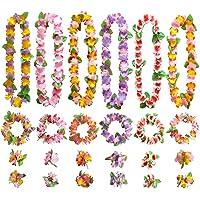GWHOLE Juego de Guirnaldas Flores Hawaianas Decoración de Colores, 12 Collares 12 Diademas 24 Pulseras Lei Hawaiano de…