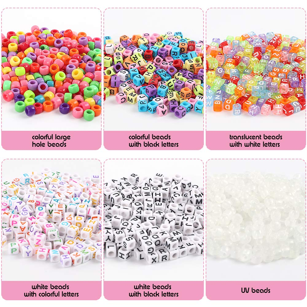 etc. Bracelets 1 Set UV Beads with 50 Meters of Flat Round Thread for Making Jewelry Quefe 1500 Pcs Assorted Acrylic Plastic Beads Containing 4 Types Letter Beads 1 Set Large Hole Beads