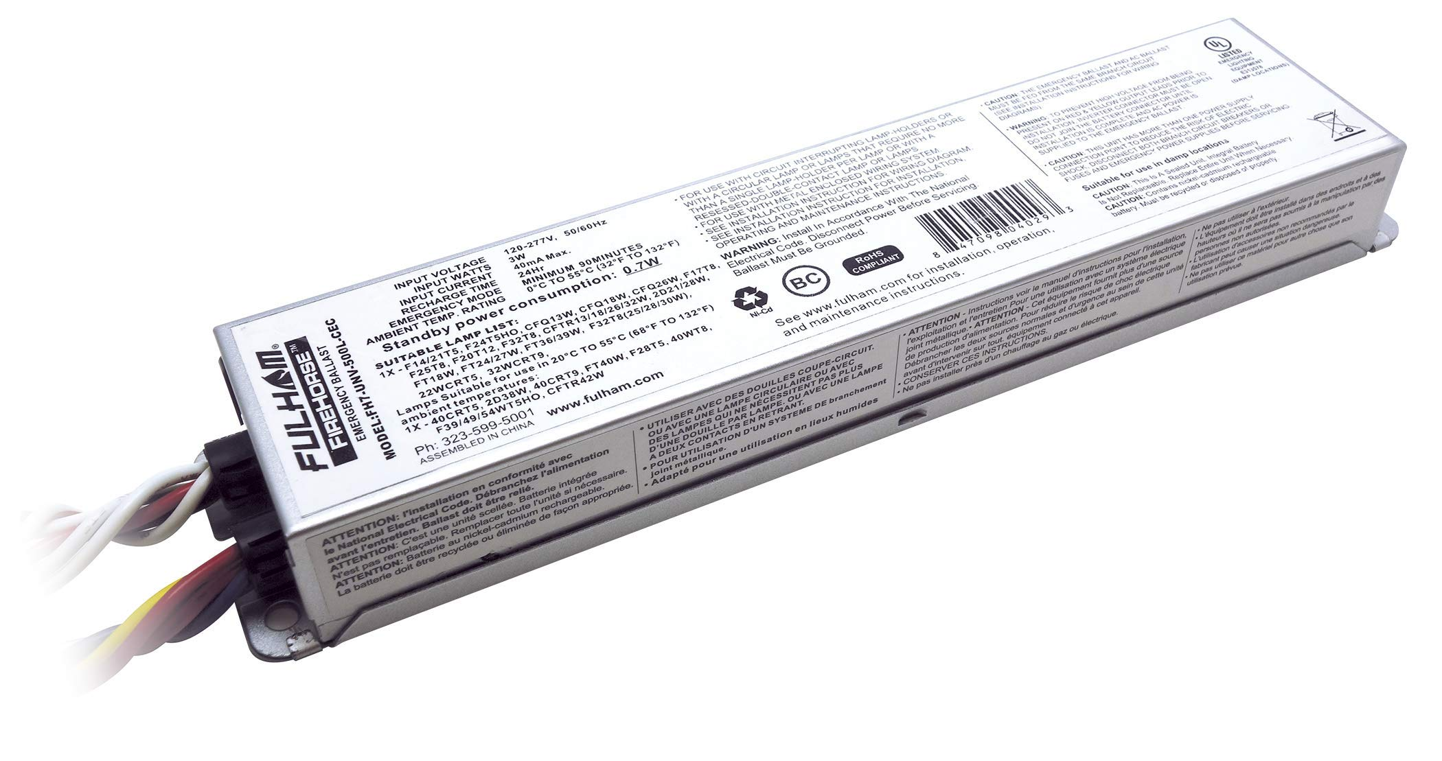 Fulham Lighting FH7-UNV-500L-CEC FireHorse 7-Emergency Ballast-Universal Voltage-500 Initial Lumen Output