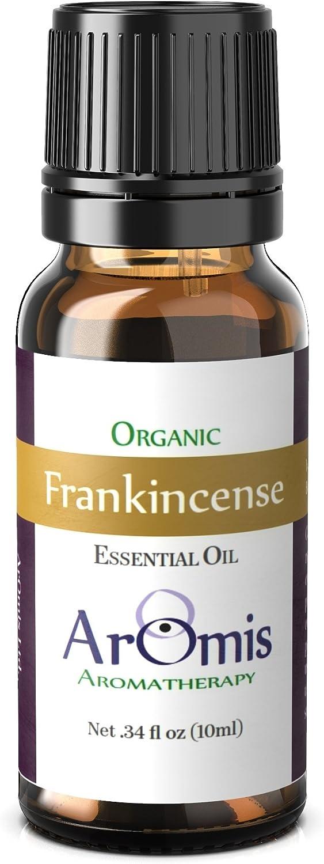 ArOmis Frankincense Essential Oil - Certified Organic - Boswellia serrata- 100% Therapeutic Grade - 10ml, Undiluted, Natural, Premium, Massage Oil, Oils Perfect for Aromatherapy, Diffuser, Oral Care