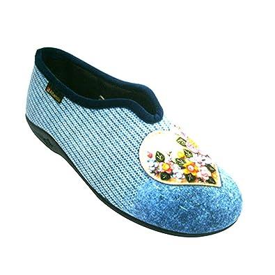 Alberola Être Femme Chaussures Maison Fermée Avec Motif Coeur En Bleu Taille 36 hJdck