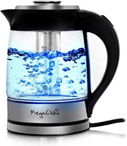 Megachef Electric Stainless Steel Light Up Wired Tea Kettle