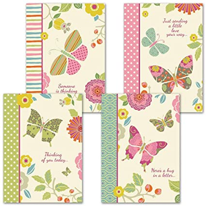 Amazon butterfly cheer thinking of you greeting cards set of butterfly cheer thinking of you greeting cards set of 8 4 designs m4hsunfo