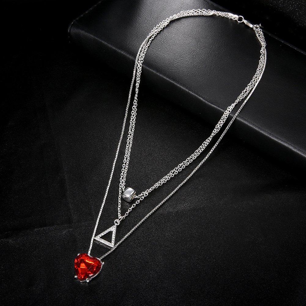 Gilroy Women Girls Multi-Layer Triangle Heart Rhinestone Pendant Charm Choker Necklace