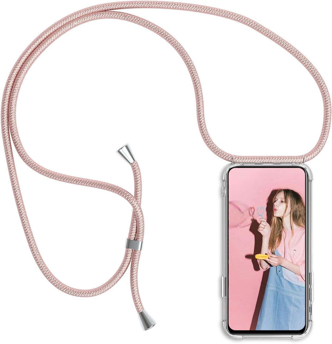 Funda con Cuerda para iPhone XS MAX, Carcasa Transparente TPU Suave Silicona Case con Correa Colgante Ajustable Collar Correa de Cuello Cadena Cordón para iPhone XS MAX - Oro Rosa