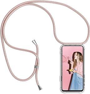 Funda con Cuerda para iPhone 11 Pro MAX, Carcasa Transparente TPU Suave Silicona Case con Correa Colgante Ajustable Collar Correa de Cuello Cadena Cordón para iPhone 11 Pro MAX 6.5'' - Oro Rosa