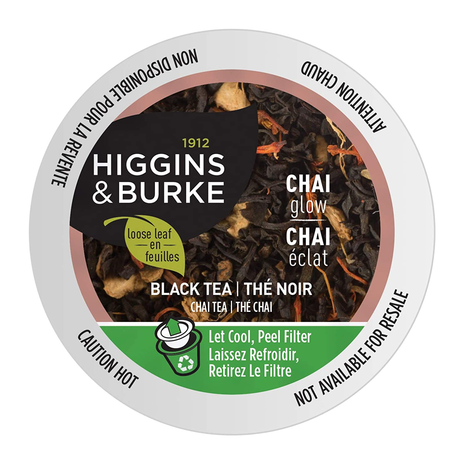 Higgins & Burke Chai Glow, Loose Leaf Black Tea, Keurig K-Cup Brewer Compatible Pods, 24 Count (GMT8811-CP1)