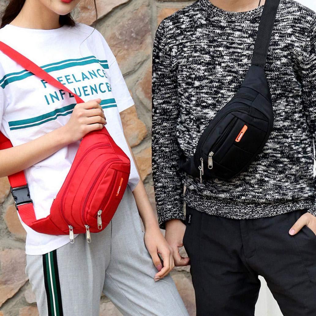 BROKELG Unisex Outdoor Sports Waist Bag Waterproof Crossbody Pack Storage Bag Pouch Pink