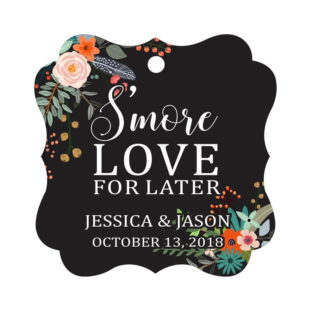 Darling Souvenir S'More Love For Later Tag Custom Favor Fancy Hang Tags -Floral Black-50 Tags