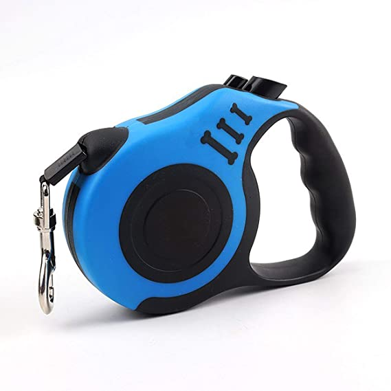 Blue FISHSHOP Retractable Dog Lead Smooth Extending and Retracting Dog Walking Leash with Flat Braided Nylon Ribbon Material for Small Medium Dogs,Extends up to 5m And Suitable Within 15kg