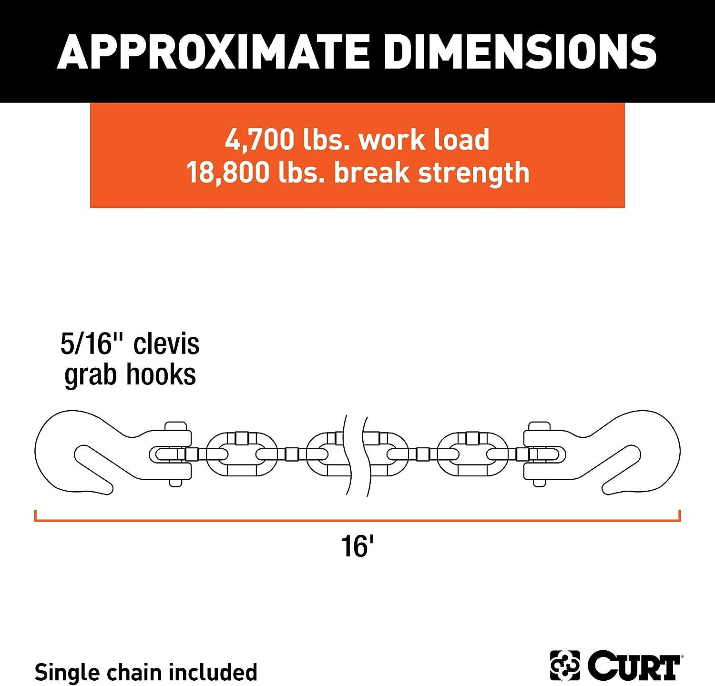 5//16-Inch Clevis Hooks 18,800 lbs CURT 80306 16-Foot Trailer Safety Transport Tie-Down Load Binder Chain Break Strength