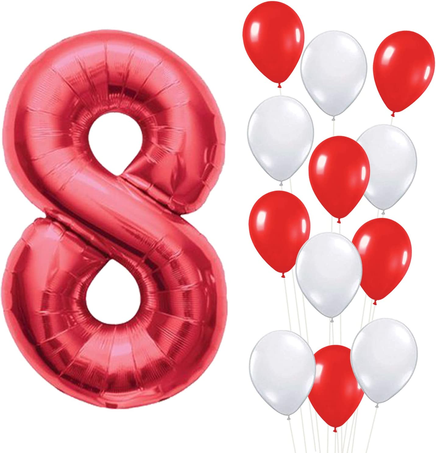 Red Number 8 Mylar Balloon – Large, Pack of 13 | Red and White Latex Balloons Party Decorations Backdrop | 8th Birthday Party Decorations Supplies Kit | Great for Anniversary, Home Office Décor