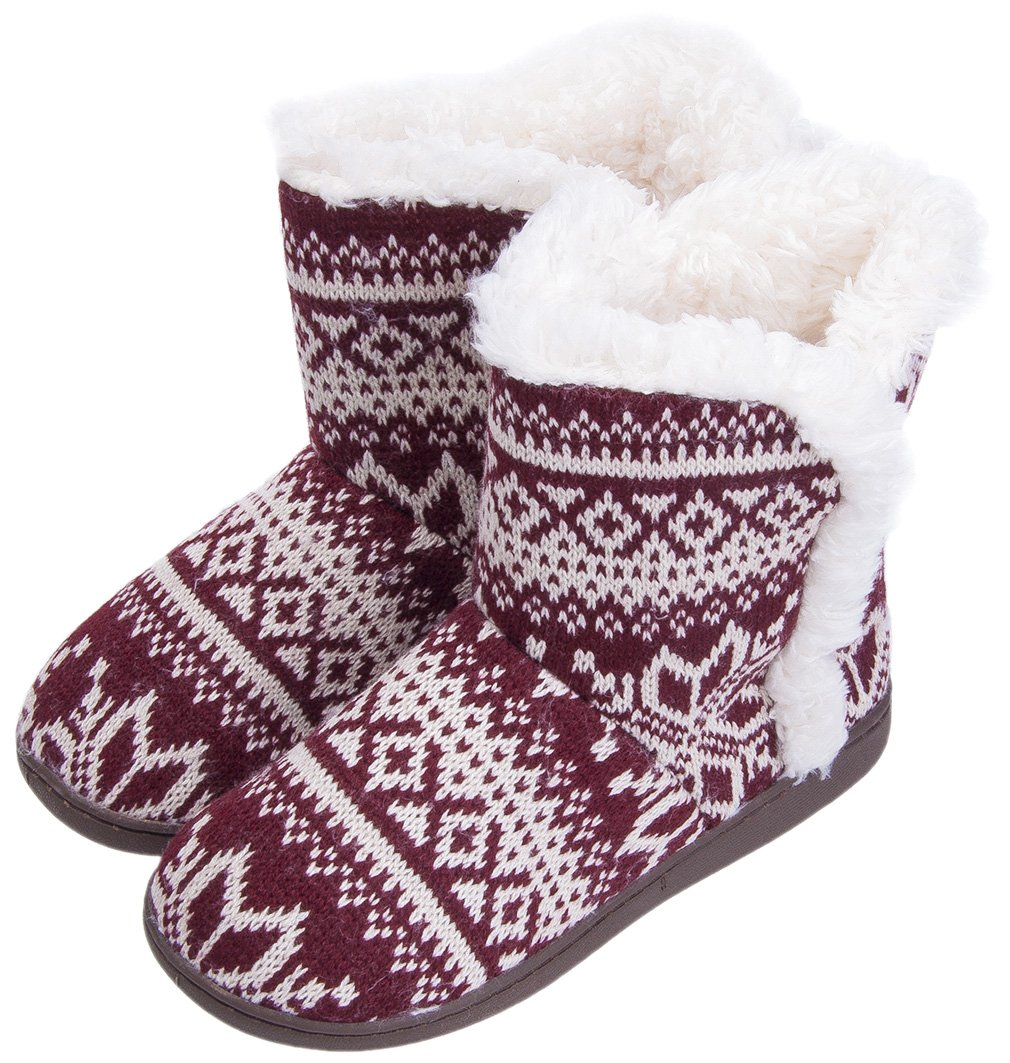 MIXIN Women's Anti Slip Knitted Woolen Striped Faux Fleece Lined Indoor Outdoor Slipper Boots Wine Red 7 M US