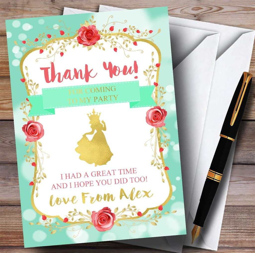 Green Princess Party Thank You Cards