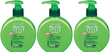 Garnier Fructis Style Curl Calm Down Anti-Frizz Cream, Strong Hold, 6 Fluid Ounce Pack of 3