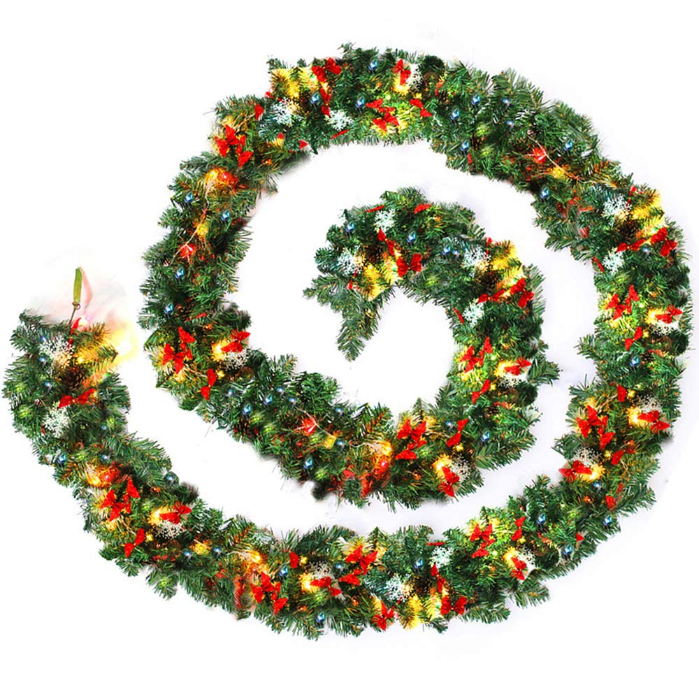 New Soul Christmas Garlands For Stairs Fireplace Illuminated With Multicolor Led Light 270cm Artificial Diy Xmas Tree Decoration 2 7m Gold Diy