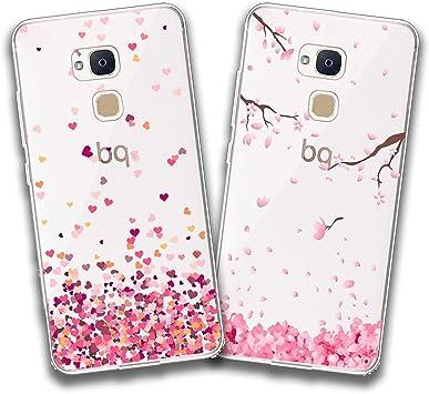 jrester 2 X Funda BQ Aquaris V Plus,Amor + Flor Rosa Flexible Suave Transparente TPU Gel Silicona Anti-Arañazos Smartphone Cascara Protectora para BQ Aquaris V Plus/VS Plus (5,5