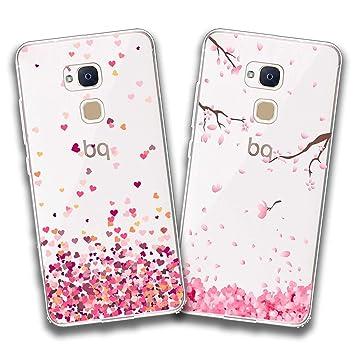 jrester 2 X Funda BQ Aquaris V Plus,Amor + Flor Rosa Flexible Suave Transparente TPU Gel Silicona Anti-Arañazos Smartphone Cascara Protectora para BQ ...