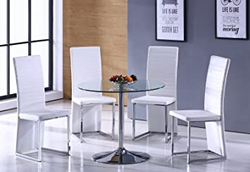 ROUND GLASS DINING TABLE SET WITH 4 WHITE FAUX LEATHER DINING