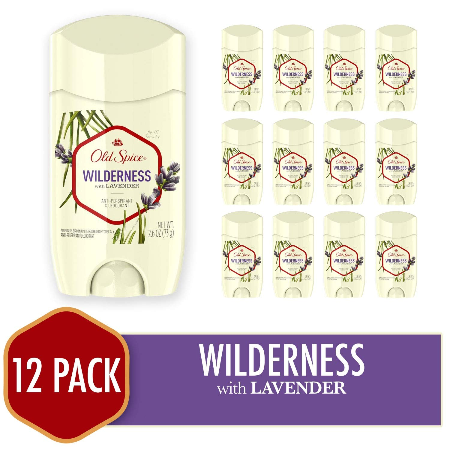 Old Spice Antiperspirant Deodorant for Men, Wilderness With Lavender, Inspired By Nature, Invisible Solid 2.6 Ounce (Pack of 12) by Old Spice