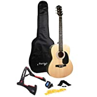 Martin Smith W-101-PK Full Size Acoustic Guitar with guitar stand, tuner, gig bag, strap, plecs and strings - Natural