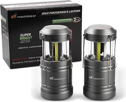 Moobibear Lampara de Camping, Lámpara portátil de 500lm con Base magnética, 30 Leds Tecnología COB Linterna Resistente al Agua a batería para Pesca ...