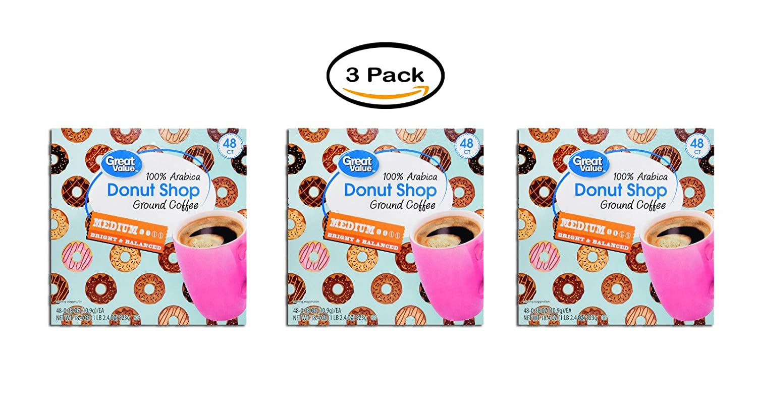 PACK OF 3 - Great Value Donut Shop Medium Roast Coffee, 48 Count K-Cups