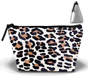 664ad640e9 Amazon.com   Leopard Fur Print Cosmetic Bags Travel Toiletry Pouch Portable  Trapezoidal Storage Pencil Holders   Beauty
