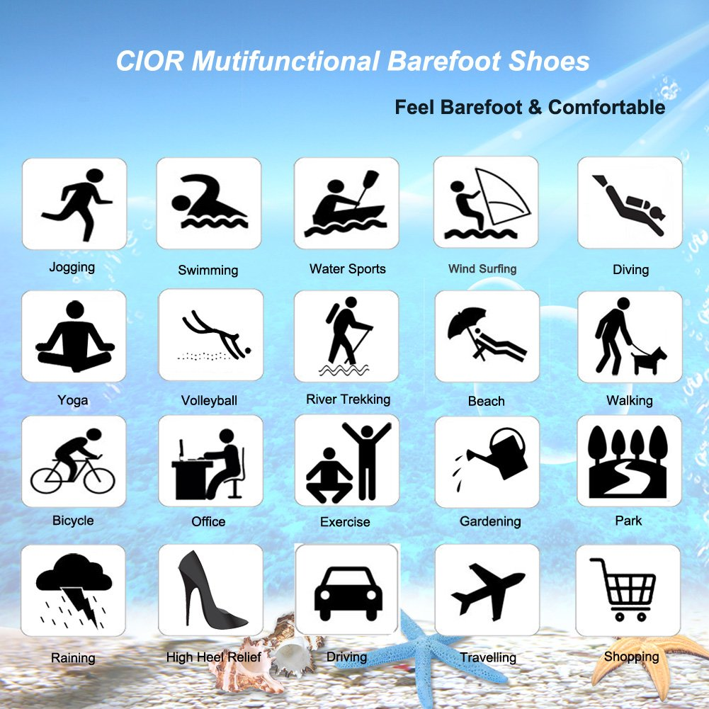 CIOR Men Women and  Water Shoes Barefoot Skin Shoes Anti-Slip for Beach Pool Surf Swim Exercise Sneaker B01IEMRBPC 10.5-11.5 B(M) US Women/8-9 D(M) US Men|Dark Blue